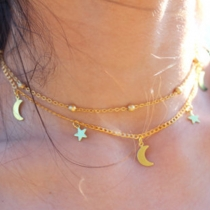 Fashion Star&Moon Pendant Double-layer Necklace