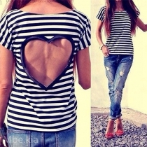 Sexy Heart-shaped Hollow Out Short Sleeve Striped T-shirt