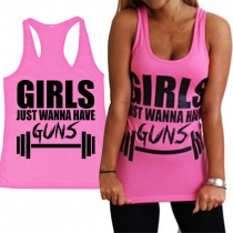 Stylish Girls Just Wanna Have Guns Graphic Racerback Tank