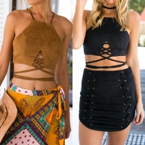 Chic Style Sleeveless Cutout-Front Self-Tie Zip-Back Crop Top