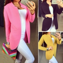 Fashion Solid Color Long Sleeves Open-Front Coat