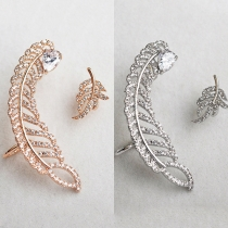 Stylish Rhinestone Leaf-Shaped Stud Earrings