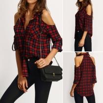 Fashion Cold Shoulder Lapel Button-tab Sleeve Lattice Blouse