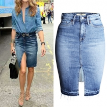 Stylish 2-side Pockets Front Slit High Waist Skinny Bust Denim Skirt