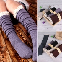 Sweet Lace Spliced Over The Knee Knit Socks For Women