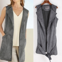 Fashion Solid Color 2 Side Pockets Lapel Sleeveless Vest with Waist Strap