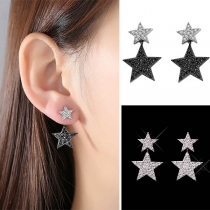 Fashion Crystal Five-pointed Star Shaped Earring