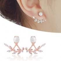 Elegant Leaf Shaped Rhiestone Backear Stud Earring