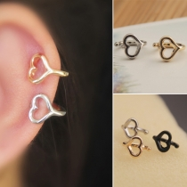 Simple Style Hollow Out Heart-shaped Ear Clips Stud Earrings