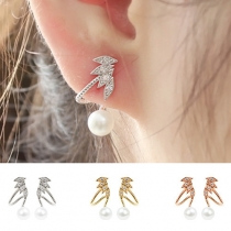 Fashion Rhinestone Inlaid Pearl Stud Earrings