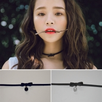 Sweet Style Pearl Pendant Bowknot PU Leather Choker Necklace