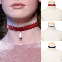 Fashion Water-drop Pearl Pendant Lace Spliced Choker Necklace