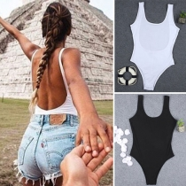 Sexy Backless Sleeveless Round Neck Solid Color Bodysuit