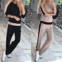 Fashion Contrast Color Half Sleeve Sweatshirt + High Waist Pants Sports Suit