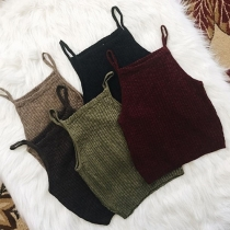 Fashion Solid Color Knit Cami Top