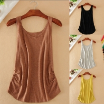 Fashion Solid Color Round Neck Casual Tank Top