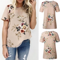 Fashion Short Sleeve Round Neck Printed T-shirt