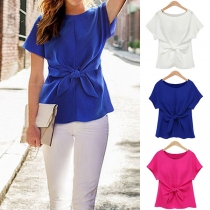 Fashion Solid Color Short Sleeve Round Neck Knotted Chiffon Top