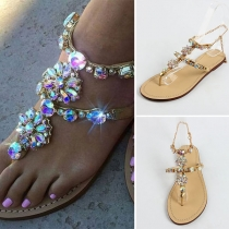 Fashion Flat Heel Rhinestone Thong Sandals