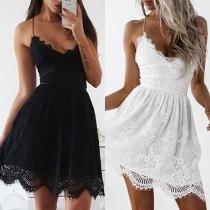 Sexy Backless V-neck High Waist Sling Lace Dress