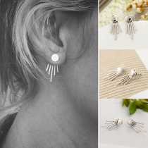 Simple Style Silver-tone Vertical stripes Alloy Stud Earrings