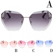 Fashion Frameless Irregular Lens Sunglasses