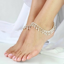 Fashion Gold/Silver-tone Bells Pendant Alloy Anklet