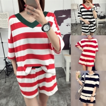 Fashion Short Sleeve T-shirt + Shorts Striped Two-piece Set