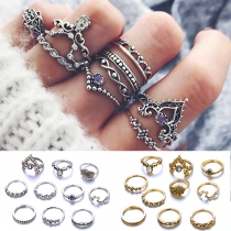 Retro Style Rhinestone Inlaid Big Dipper Shaped Ring Set 10 pcs/Set