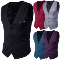 Fashion Solid Color Sleeveless V-neck Single-breasted Men's Vest