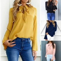 OL Style Trumpet Sleeve Lace-up Bowknot Solid Color Blouse