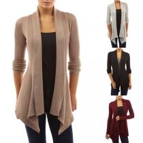 Fashion Solid Color Long Sleeve Irregular Hem Knit Cardigan