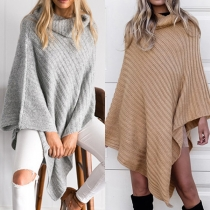 Chic Style Turtleneck Irregular Hem Solid Color Sweater Shawl