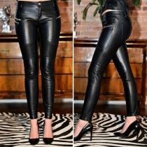 Fashion Solid Color Low-waist PU Leather Pants