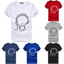Cute Cartoon Printed Short Sleeve Round Neck Men's T-shirt
