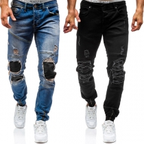 Distressed Style Ripped Relaxed-fit Men's Jeans