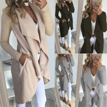 Fashion Solid Color Long Sleeve Lapel Irregular Hem Thin Cardigan