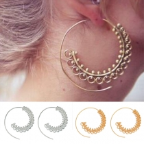 Exaggerated Style Whirlpool Gear Shaped Alloy Earrings