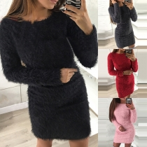 Fashion Solid Color Long Sleeve Round Neck Plush Tight Dress