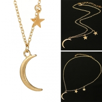 Fashion Star & Crescent Pendant Alloy Necklace