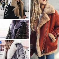 Fashion Long Sleeve Oblique Zipper Faux Cashmere Coat