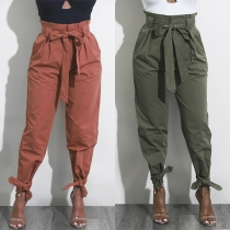 Fashion Solid Color High Waist Casual Pants with Waist Strap