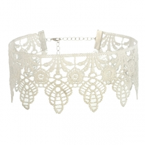 Fashion Solid Color Hollow Out Lace Choker Necklace