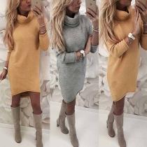 Fashion Solid Color Long Sleeve Turtleneck Slim Fit Dress