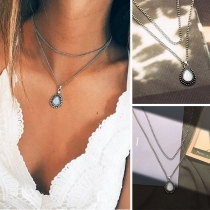Fashion Water-drop Shaped Pendant Double-layer Necklace