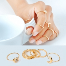 Simple Style Alloy Ring Set 7 pcs/Set
