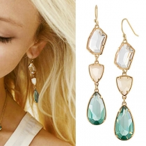 Fashion Water-drop Shaped Rhinestone Pendant Earrings