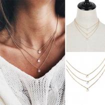 Simple Style Rhinestone Pendant Three-layer Necklace