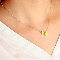 Simple Style Heart Pendant Gold/Silver-tone Necklace