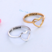 Simple Style Hollow Out Heart Shaped Ring